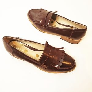 Women's Chocolate Brown Kiltie Leather Loafers 7